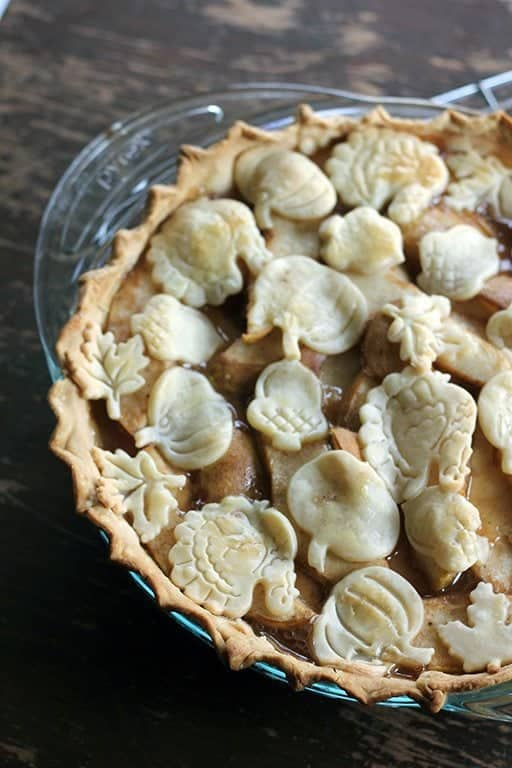 freshly baked Pear Pie with pie filling still bubbling