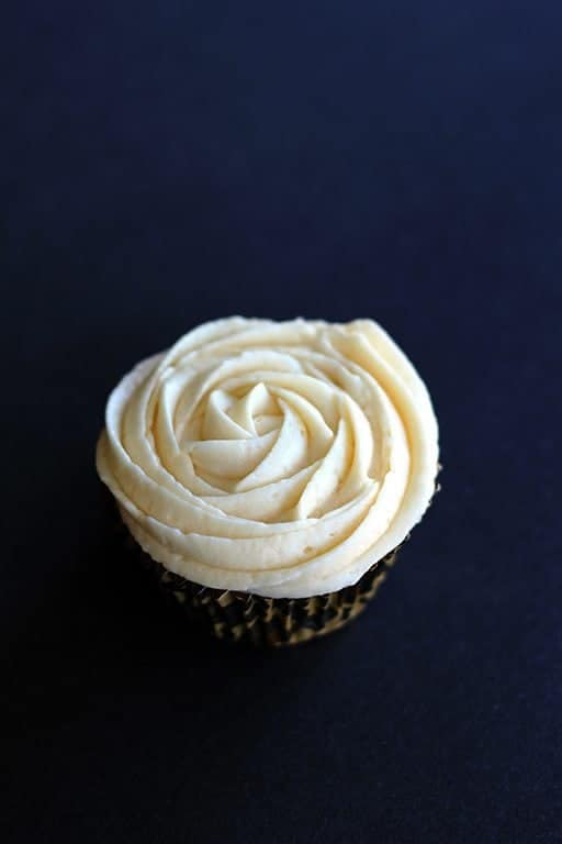 top down shot of cupcake with Buttercream Icing on top