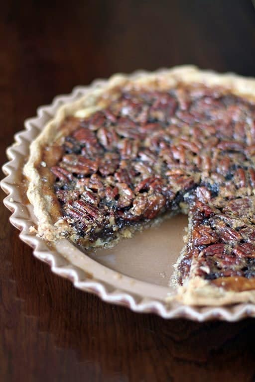 close up of Williams-Sonoma's Pecan Pie in a pie plate