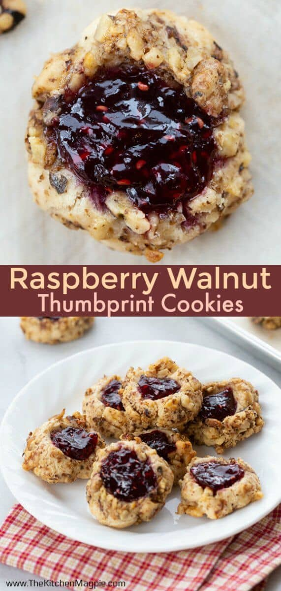 Take this basic thumbprint cookie dough recipe and make these Raspberry Walnut Thumbprint cookies with it! A classic taste pairing! #christmascookies #thumbprintcookies #cookies
