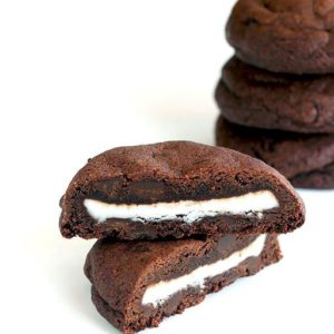 Close up Photo of a Double Mint Stuffed Chocolate Chip Cookie