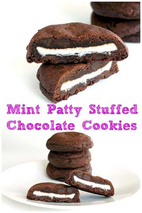 Double mint stuffed chocolate chip cookies stuffed with York peppermint patties.You just cannot imagine how good these are! #mint #cookie #recipe #cookies #chocolate #peppermint #baking #recipe #dessert