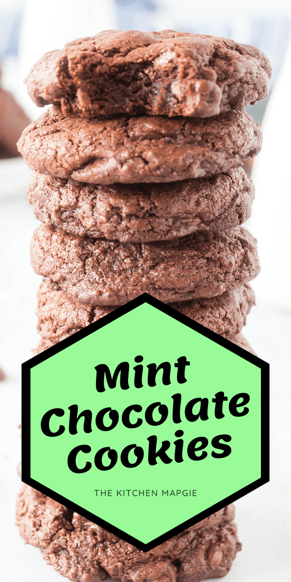 Double Mint Chocolate Chip Cookies, mint chocolate chips in a chocolate cookie batter. These cookies are chewy and decadent! #mint #chocolate #chocolatechipcookies #cookies #cookie #recipe #dessert