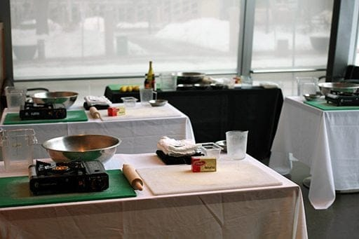 Room set up for cooking classes