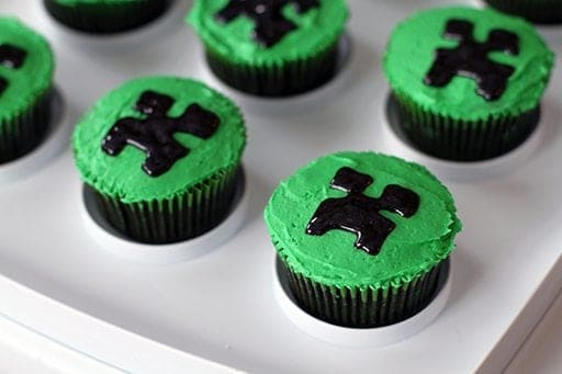 close up of cupcake with green icing in Minecraft theme