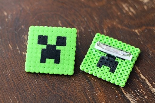 Minecraft inspired creeper pins with