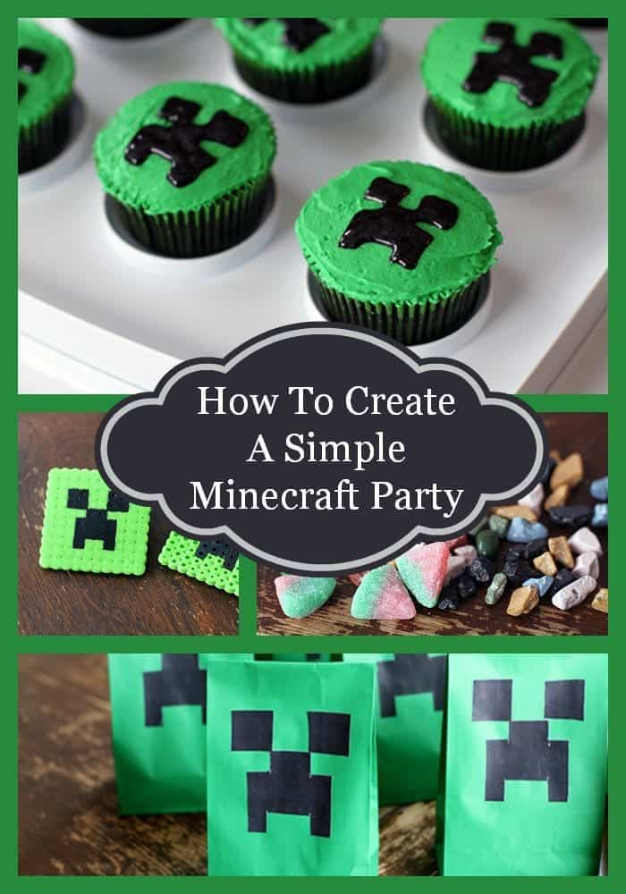 Simple Minecraft Birthday Party Collage