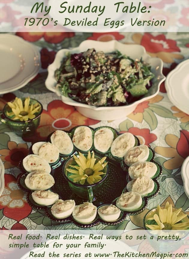 Sunday table with classic deviled eggs in green egg plate 70's edition