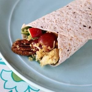Curried Chicken Quinoa Wrap in a white serving plate