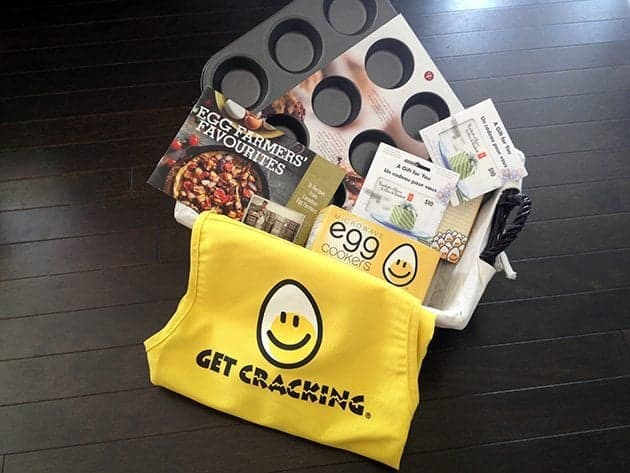 "A muffin tin, a ""Get Cracking"" apron,Microwave egg cookers, perfect for moms-on-the-go, magnetized grocery list, Farmers' Favourite recipe booklet and a $20 grocery store gift card"