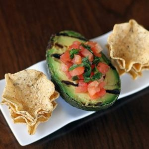 Grilled Avocado & Pico de Gallo in a White Rectangular Plate