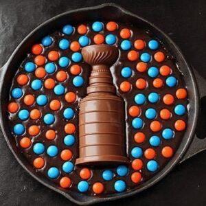 Stanley Cup Skillet Brownies with M&M candies