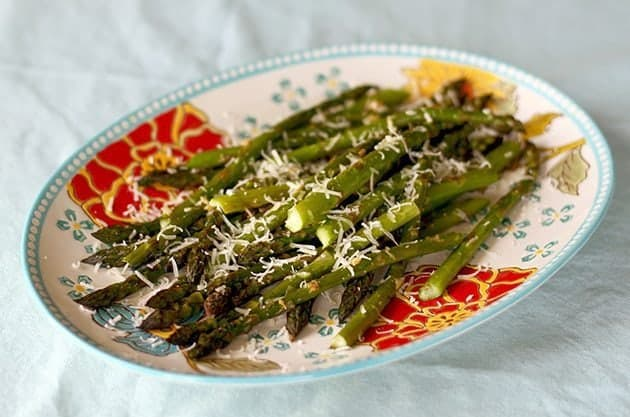 Roasted Garlic Asparagus With Sorvrano Cheese on Top