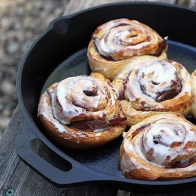 Camping Recipes: Bacon Stuffed Cinnamon Buns in a Skillet
