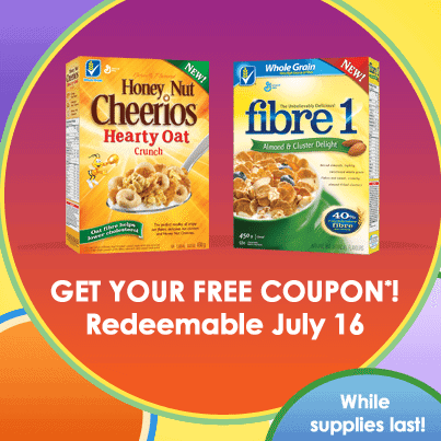 coupon details for Cheerios Hearty Oat and Firbre 1