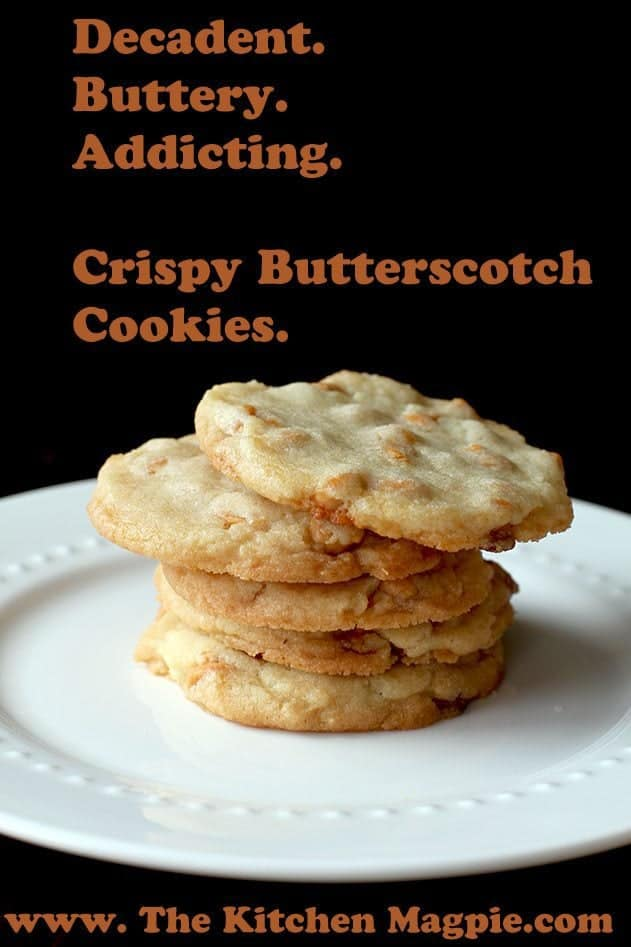 stack of crispy Butterscotch Cookies in a plate