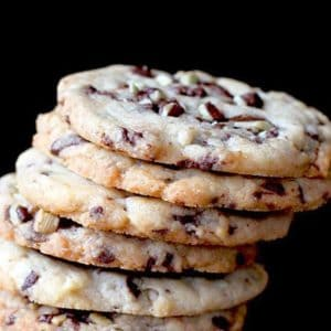 Stack of Chocolate Cookies in Black Background