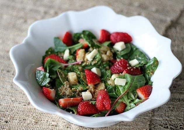 Strawberry Quinoa Salad With Brie in a White Bowl