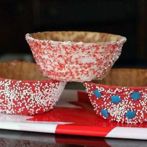 Close up of Three Pieces Patriotic Chocolate Covered Waffle Bowls