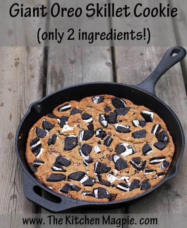 Two ingredients make up the yummiest skillet cookie ever! We make this Oreo Skillet while camping! #cookies #oreos #camping