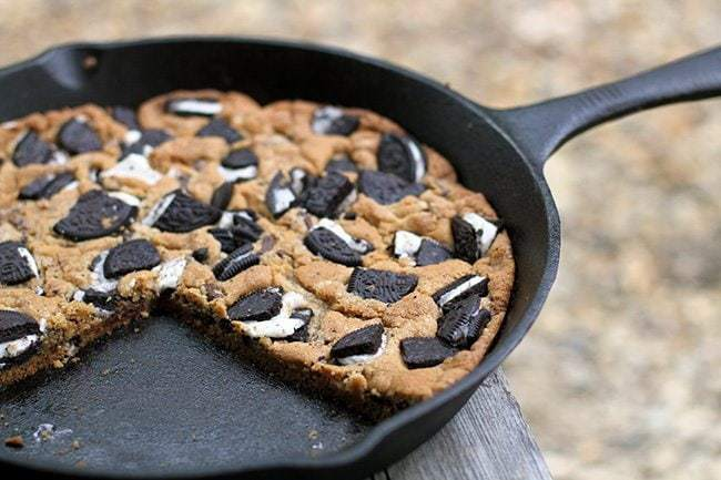 Giant Oreo Skillet Cookie in Wood Background