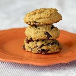 stack of Raisin Molasses Gems Cookies in an orange plate on white background