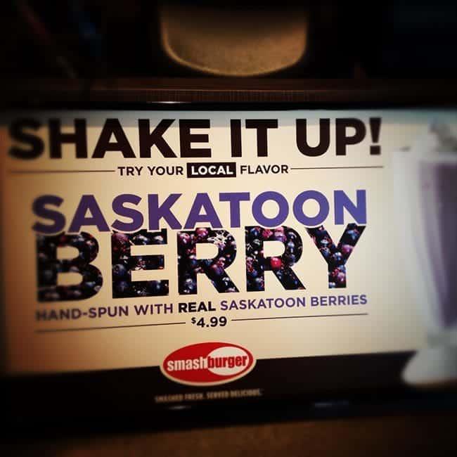 Saskatoon berry shake signage