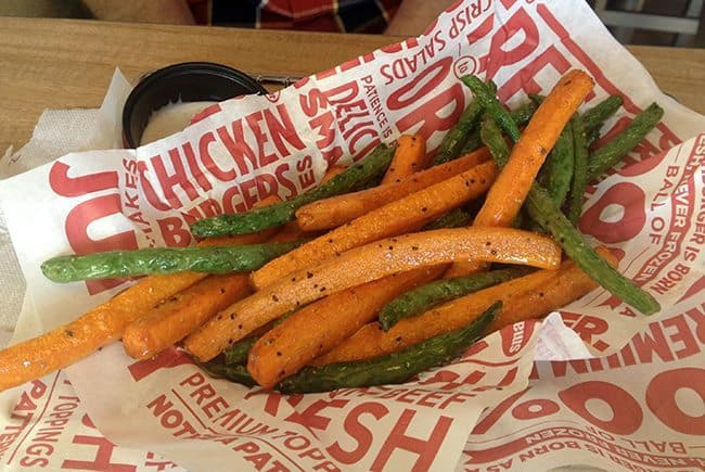 Veggie Frites - flash fried carrot sticks and green beans that are lightly seasoned