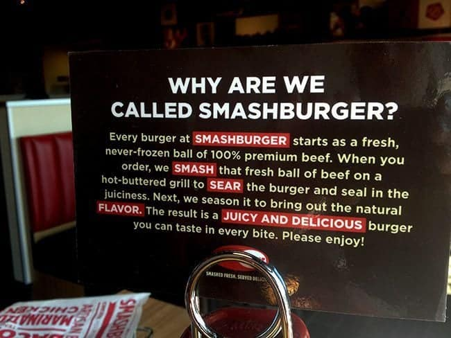 close up of Smashburger details