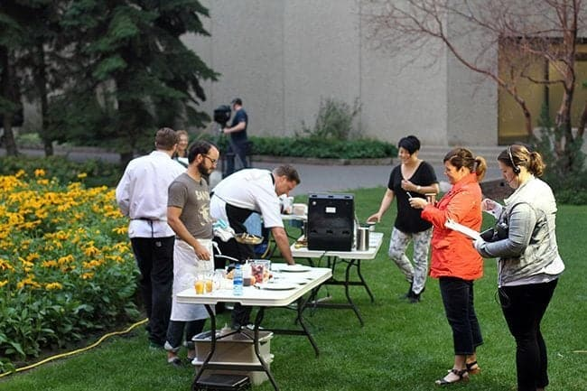 chefs and staffs setting up for Breakfast Television Cook off