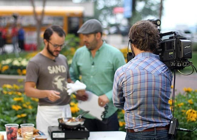 shooting with the first chef for Breakfast Television