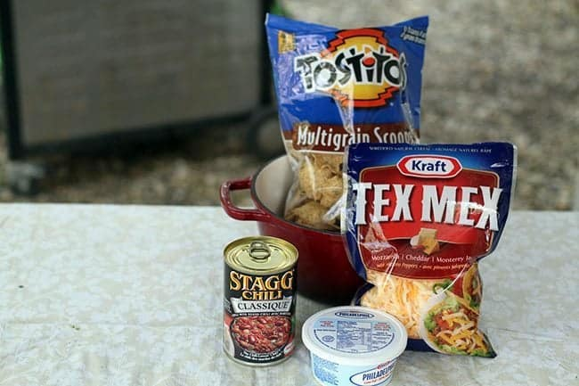 camping recipe ingredients - non fat cream cheese, a can of Staggs classic chili, Tex Mex cheese and multigrain scoops chips