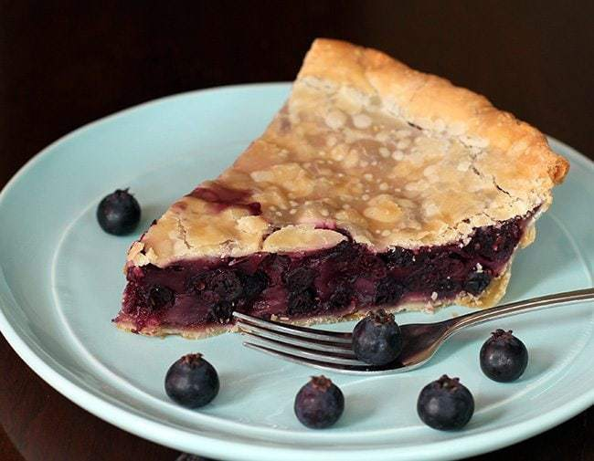 Slice of Saskatoons N' Cream Pie in Mint Green plate
