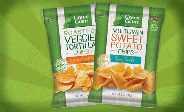 Packs of Roasted Veggie Chips,  Zesty Cheddar and Multigrain Sweet Potato with Sea Salt flavors of Green Giant