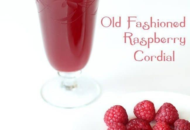 a glass of Raspberry Cordial and a white plate with fresh raspberries on white background