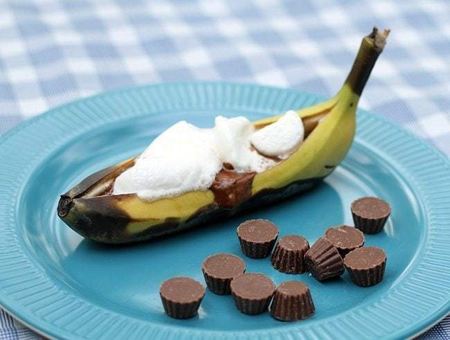 Reese's Peanut Butter Cup Banana Boat in blue plate
