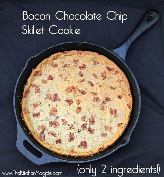 giant Chocolate Chip Cookie with bacon in a large Skillet on dark background
