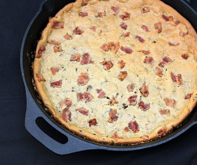 giant Chocolate Chip Cookie with bacon in a large Skillet