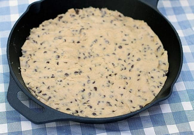 chocolate chip cookie dough pressed into the bottom of skillet