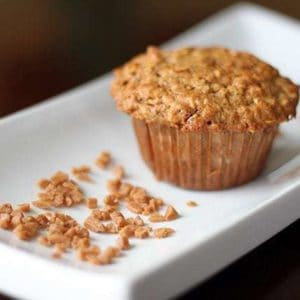 Oatmeal Banana Muffins in a rectangular white plate with Skor bits