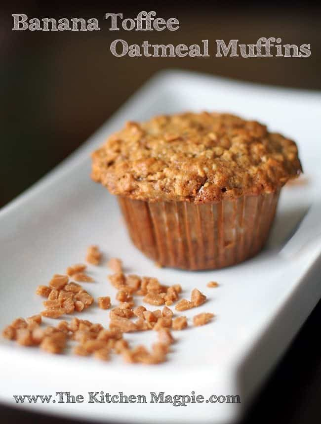 Skor bits make these Oatmeal Banana muffins just that little bit more decadent! Pssst. Hide healthy hemp hearts in these and your kids will never know the difference! #oatmeal #banana #muffins