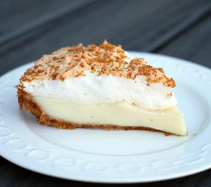 A slice of Flapper Pie in a white plate
