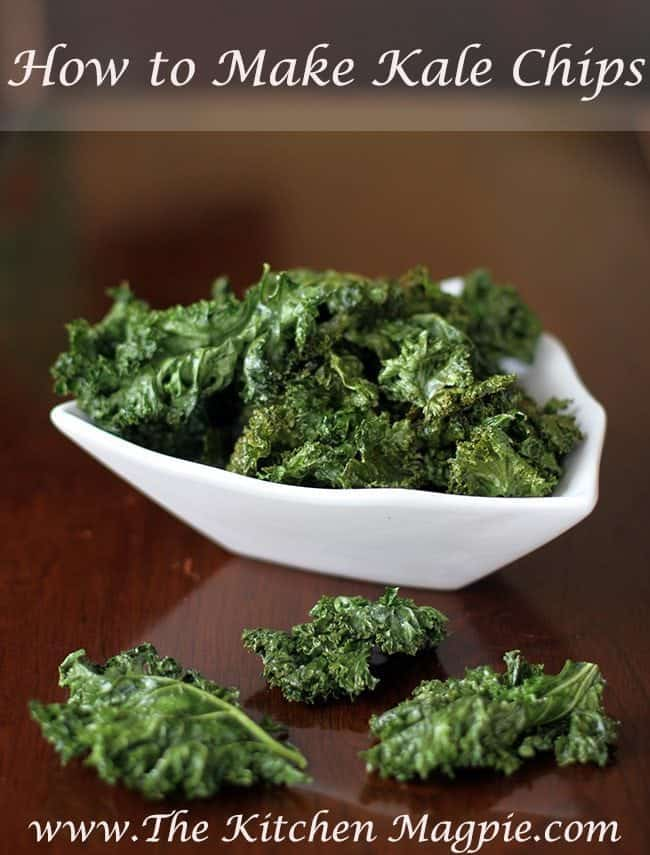 freshly baked Crispy Kale Chips in a white square bowl