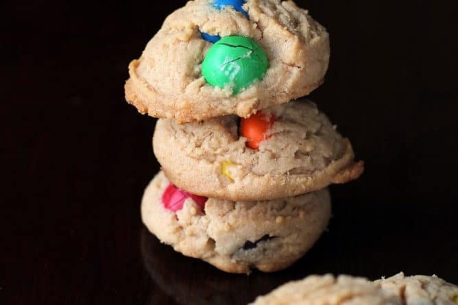 Peanut Butter with Colorful M&M Cookies