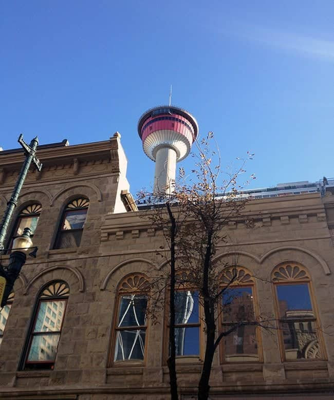 view of Calgary Tower from looking up