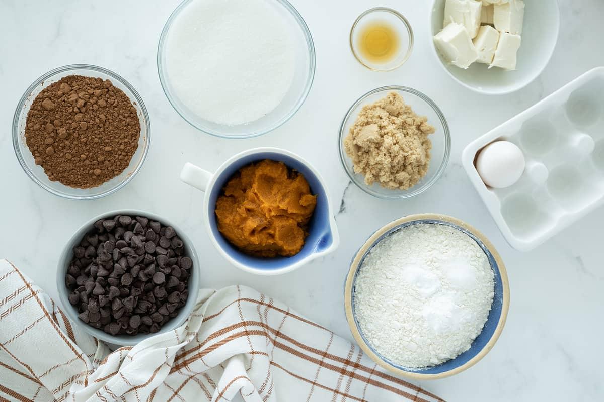 Ingredients in making Chocolate Pumpkin Cookies