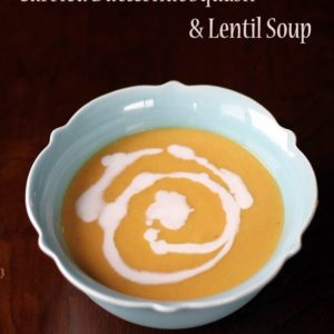 close up of a turquoise soup bowl with Butternut Squash, Lentil & Coconut Curry Soup