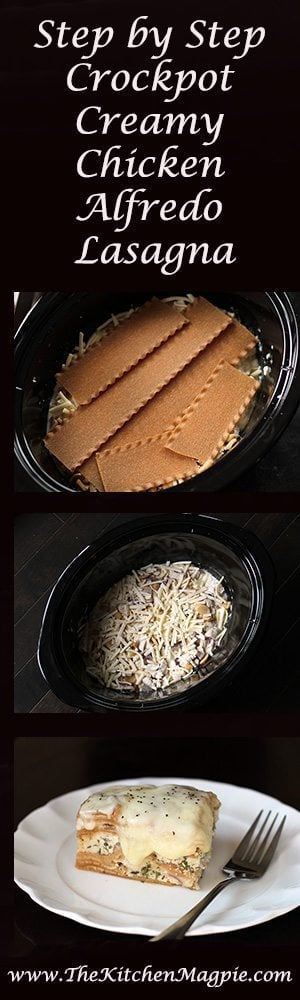 Step by step of making Crockpot Chicken Alfredo Lasagna