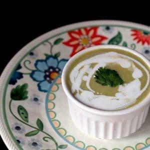 close up of Crockpot Cream of Asparagus Soup