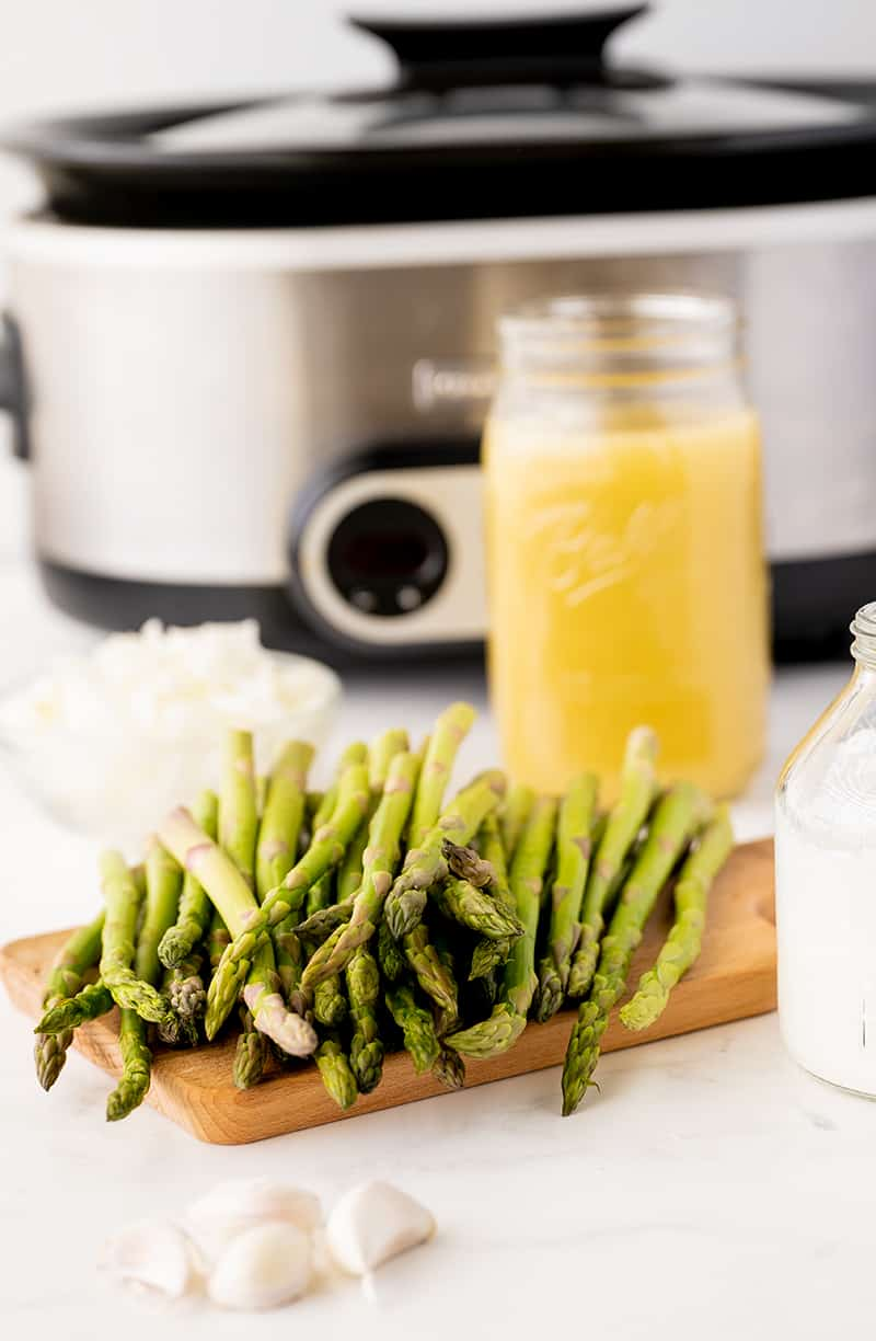 cream of asparagus soup ingredients and a crock pot